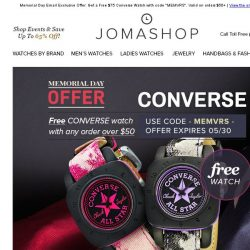 [Jomashop] 24 HOURS ONLY: Free Converse Watch With Your Purchase!