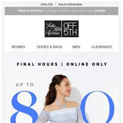 [Saks OFF 5th] FINAL HOURS: Up to 80% OFF Select Dresses W/ Code