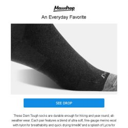 [Massdrop] Darn Tough Lifestyle Socks: Lifetime Guarantee, Comfortable & Durable for $29.99 (2-Pack)