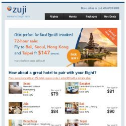 [Zuji] 3-Day sale to Seoul, Taipei & more! Fly fr $147(return)!