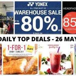 BQ's Daily Top Deals: Yonex Warehouse Sale, Converse Warehouse Sale, Hwee Seng Headphone & Hi-Fi Warehouse Sale, 1-for-1 Mains at Swensen's & More!