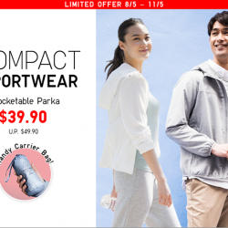 [Uniqlo Singapore] Light and water-repellent, our Women's and Men's Pocketable Parkas can be packed into a compact pouch, making