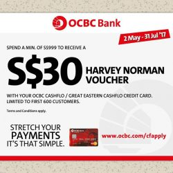 [Harvey Norman] The OCBC Cashflo Credit Card automatically splits your payments into monthly instalments and lets you earn up to 1% rebate