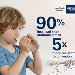 [GROHE SPA] 0% LEAD OR NICKEL ADDED Lead-free, corrosion-resistant GROHE faucets for safe drinking water.