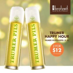 [Brotzeit German Bier Bar and Restaurant] Don't miss our sensational Trumer Happy Hour Deal!