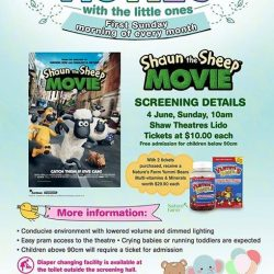 [Shaw Theatres] Join us on every first Sunday of the month with your little ones and watch a special screening of Shaun