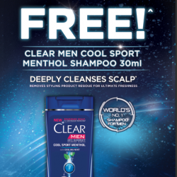 [QB House Singapore] Promotion Campaign: QB HOUSE × CLEAR Receive a Free Clear Men Shampoo Sample Pack With Every Haircut At All QB HOUSE
