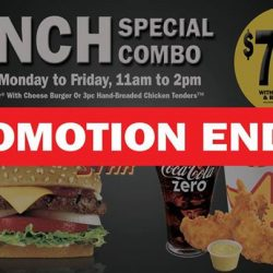 [Carl's Jr.] Dear All Customers, please informed that our lunch special combo promotion has ended.