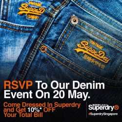 [Superdry] Simply drop your Name and E-mail into our inbox to join us at our Denim Event on Saturday from