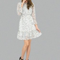 [MOONRIVER] Pamela Spotted print chiffon fit-and-flare dressUp to 50% for regular items and up to 70% off for