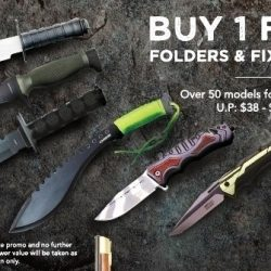[Caesars] Enjoy 1 for 1 deals on fixed blades and folders.