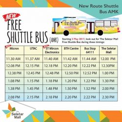 [HiArt] Do you know that, now you can get free shuttle bus to The Seletar Mall from these place on Weekdays!