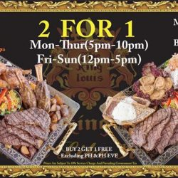 [The King Louis Bar & Grill] Buy 2 get 1 free from our main menu.