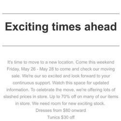 [Linen & More] It's time to move to a new location.