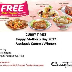 [Curry Times] Congratulations to all the Mother's Day Facebook Contest Winners!