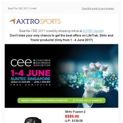 [AXTRO Sports] Beat the CEE 2017 crowd! Show prices available online @ AXTRO Sports!