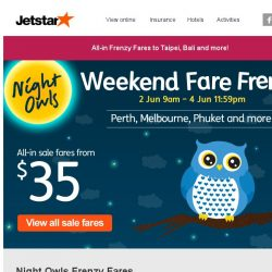 [Jetstar] Night Owl Weekend Fare Frenzy is back! All-in sale fares to Taipei, Melbourne, Bali and more!