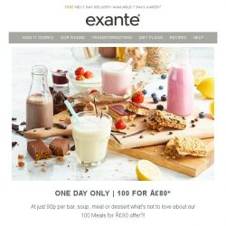 [Exante Diet] One Day Only - 100 Meals For Just £80 [Act Fast!]