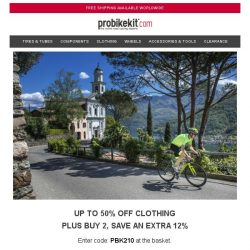 [probikekit] Up to 50% off Clothing PLUS Buy 2, Save Extra 12%!