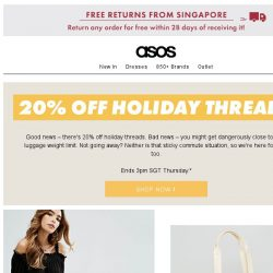 [ASOS] 20% off holiday threads – let's go!