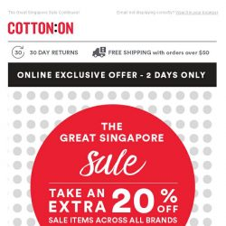 [Cotton On] Online Exclusive! Get An Extra 20% Off Sale Items!