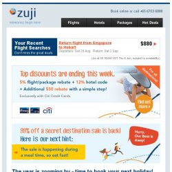 [Zuji] Till Sunday: 5% + extra $50 off your flight/package booking.