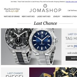 [Jomashop] Last Chance: Hublot • Bell & Ross • TAG Heuer • Diesel • Heritor Automatic