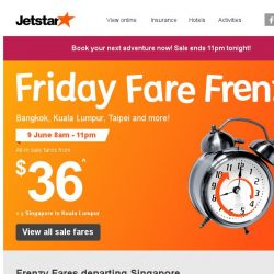 [Jetstar] All-in frenzy sale fares to Bangkok, Kuala Lumpur, Taipei and more from $36!