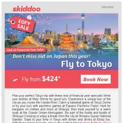[Skiddoo] 🎉 Skiddoo's End of Financial Year Sale is on! 🎉 | Tokyo return flight fr. $424 return | Kuala Lumpur fr. $73* return