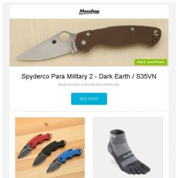 [Massdrop] Spyderco Para Military 2 - Dark Earth / S35VN, Kershaw Shuffle Knife w/Bottle Opener (3-Pack), Injinji Outdoor Midweight Socks (3-Pack) and more...