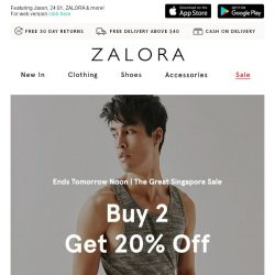[Zalora] Ends Tomorrow Noon: Get 20% Off When You Buy 2!