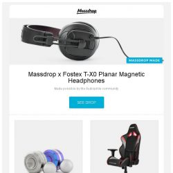 [Massdrop] Massdrop x Fostex T-X0 Planar Magnetic Headphones, TEC Accessories Orbiter Fidget Spinners, AKRacing Overture Series Gaming Chair and more...