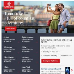[Emirates] Great Singapore Sale to destinations worldwide