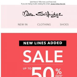 [Miss Selfridge] SALE: Over 200 new lines added today!