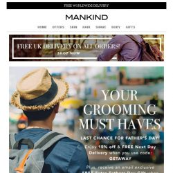 [Mankind] 15% off + Free Gift - Grooming Must Haves