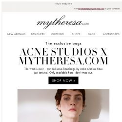 [mytheresa] Acne Studios x mytheresa.com: exclusive bags + Sale: new designers added