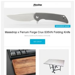 [Massdrop] Massdrop x Ferrum Forge Crux S35VN Folding Knife, NPKC Wooden Wrist Rests, Craft Room Hobby Table & Cutting Mat and more...