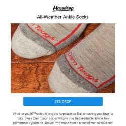 [Massdrop] Darn Tough Hiker Ankle Socks: Lifetime Guarantee + Made in USA for $40.50 (3-Pack)