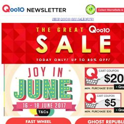 [Qoo10] Qoo10 Great Singapore Sale - Up to 90% Off! Grab it Now!