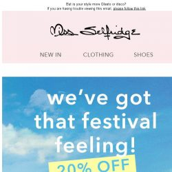 [Miss Selfridge] 20% off festival - TODAY ONLY!