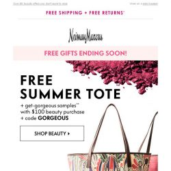 [Neiman Marcus] Last chance: Beauty tote + summer samples FREE!