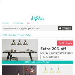 [HipVan] Limited time sale: Extra 20% off Plumen lights! & wall decals!🌟