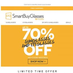 [SmartBuyGlasses] Up to 70% off the greatest Eyewear brands! 🕶️