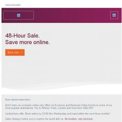 [Qatar] 48-Hour Sale - Exclusive online-only offers to Athens, Paris and London from SGD 970.