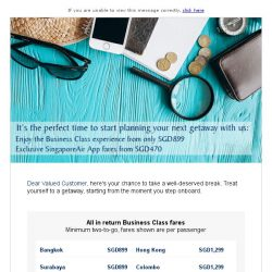 [Singapore Airlines] Reward yourself in Business Class from SGD899