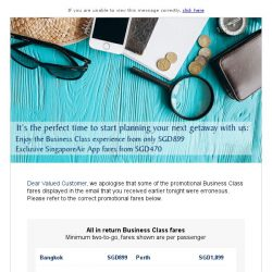 [Singapore Airlines] Correction - Reward yourself in Business Class from SGD899