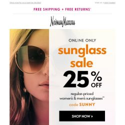 [Neiman Marcus] 25% off sunglasses! Limited time only