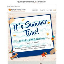 [FarEastFlora] Send over some summer sunshine with 10% off & Free Delivery!