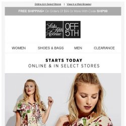 [Saks OFF 5th] Be the 1st to get up to 80% OFF DESIGNER!