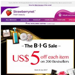 [StrawberryNet] , US$5 Off Each Item is ALMOST gone. Only 48 HRS Left to Save Big!